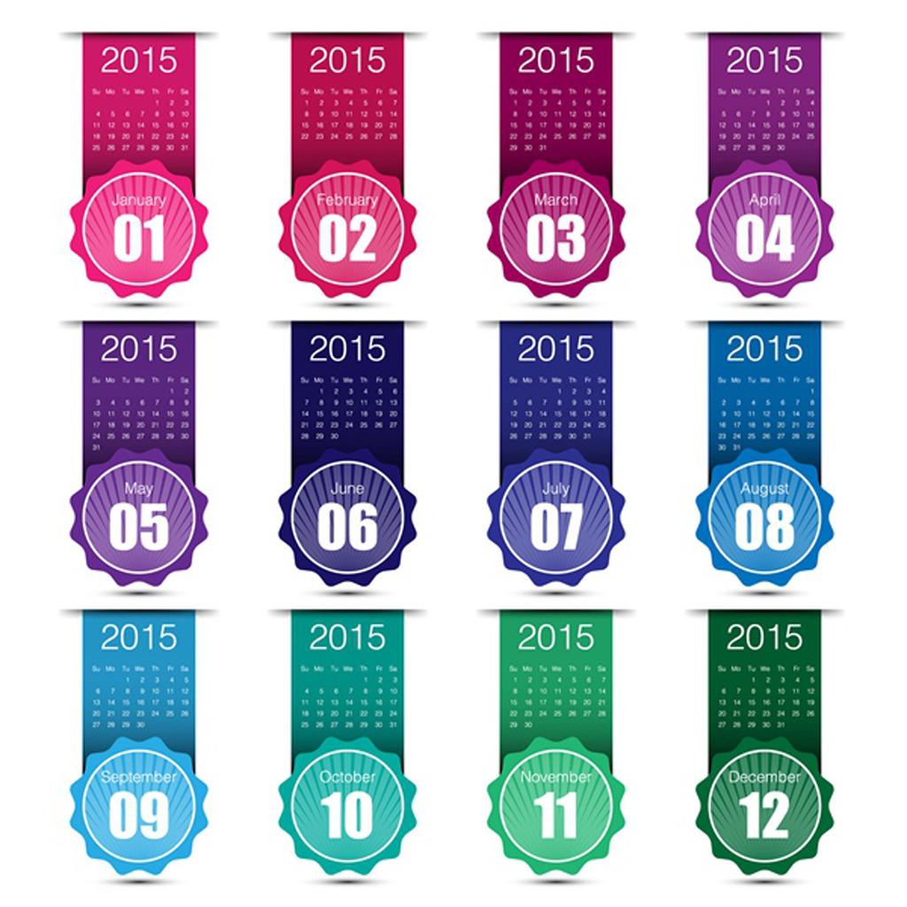 2015年羊年台历日历条全年月历矢量图片