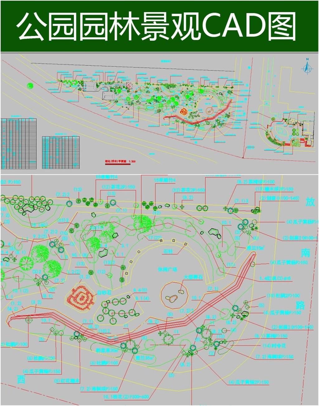 某公园绿化乔木cad平面图