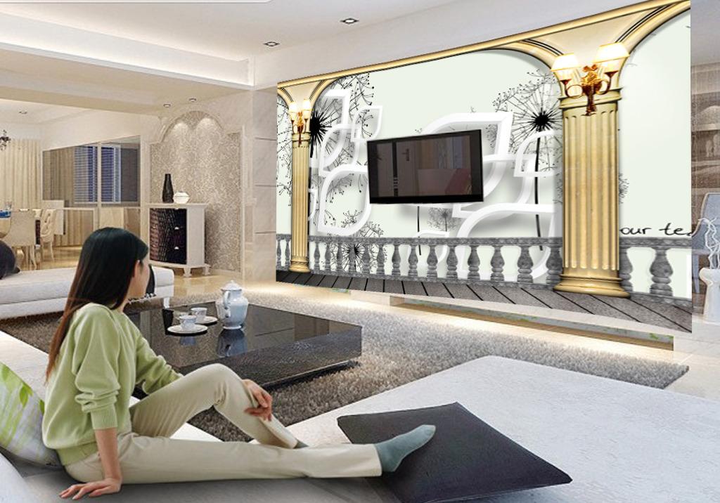 欧式简约电视背景墙图片