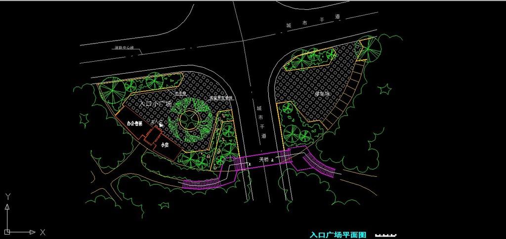 某公园详细规划设计cad图+手绘效果图
