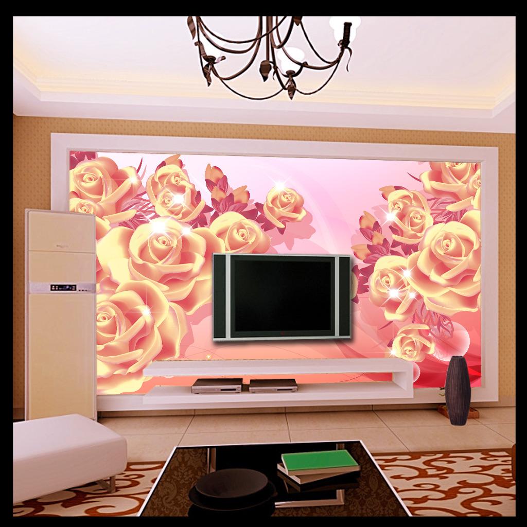 粉红色玫瑰3d电视背景墙