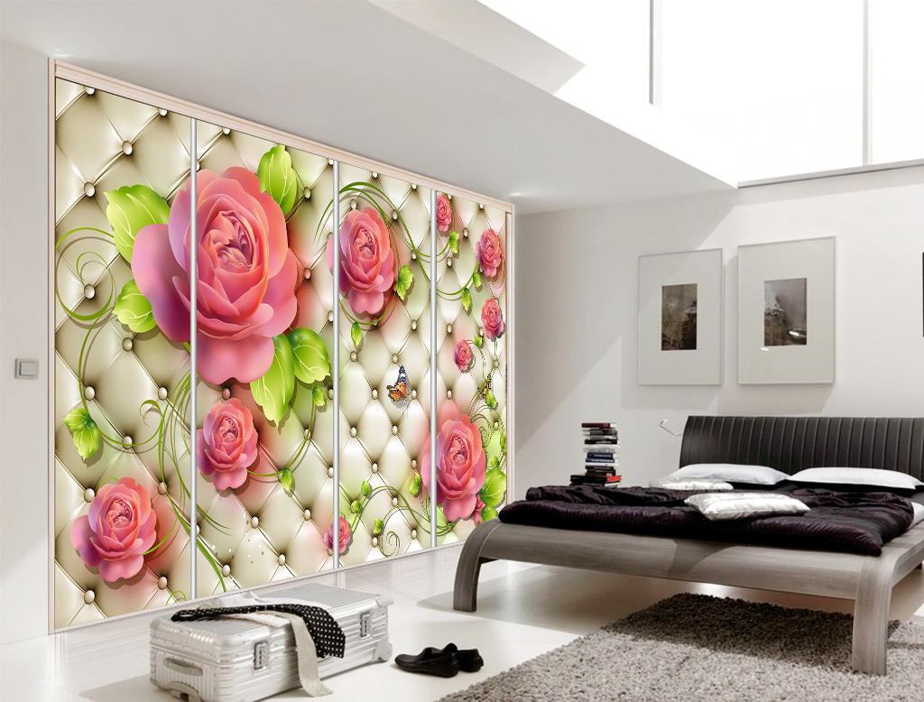背景墙 软包/3D立体皮革软包花卉背景墙壁画模板下载