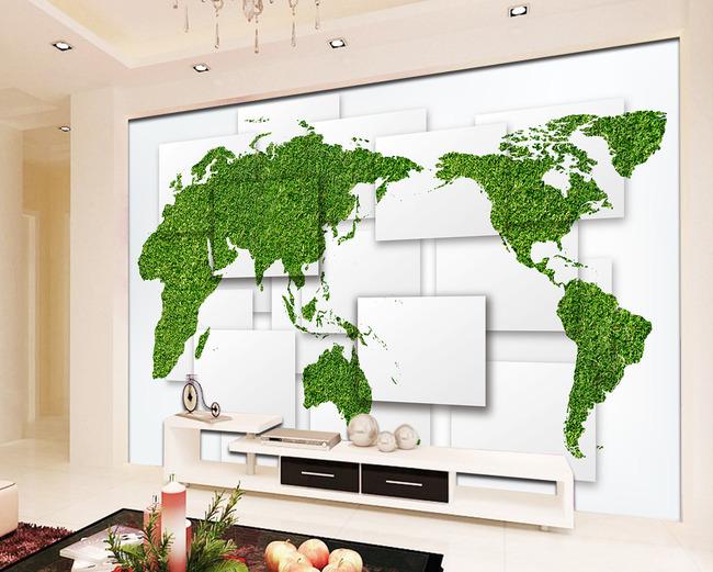 3d立体壁画创意世界地图背景墙图片