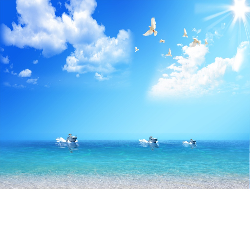自然风景蓝天白云大海模板图片