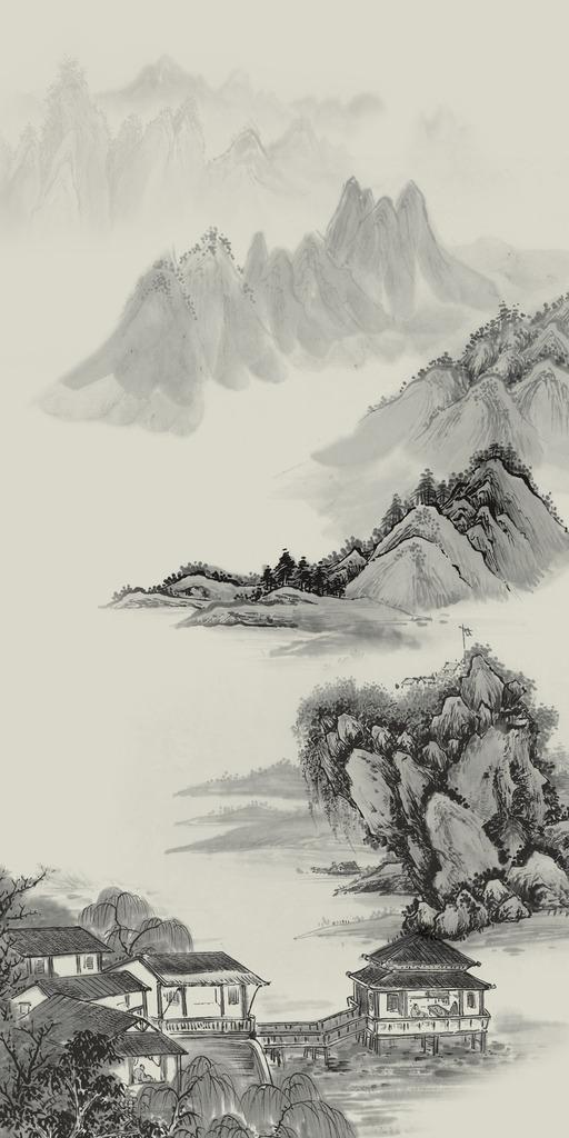 山水画风景画水墨画国画工笔画玄关壁画