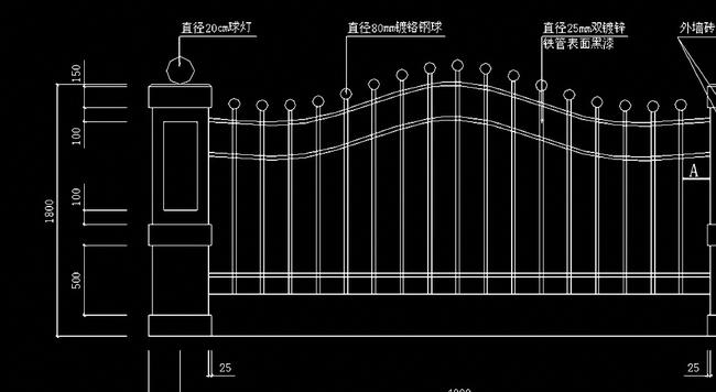室外栏杆cad设计图