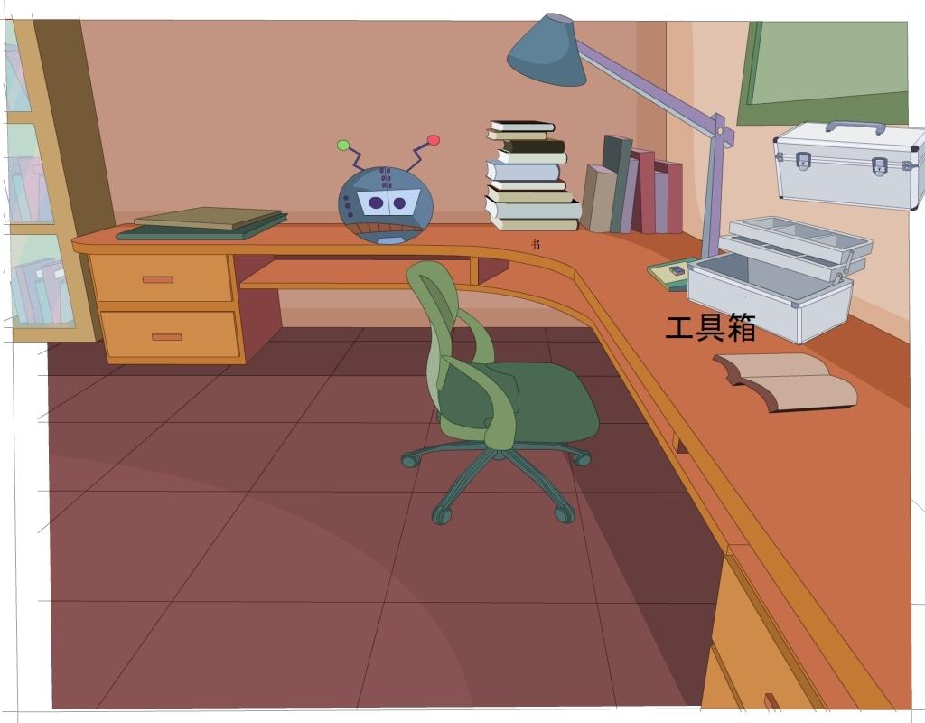 室内场景flash插画书房一角