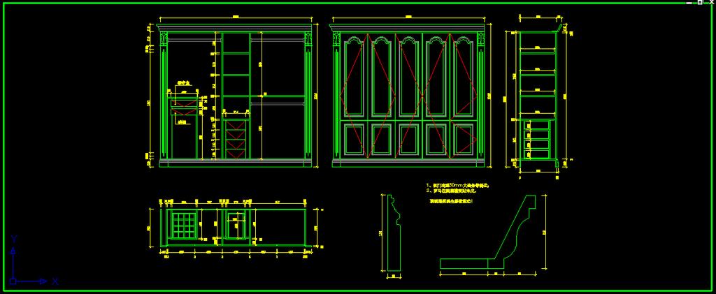 欧式别墅整木家具cad卧室衣柜图纸设计