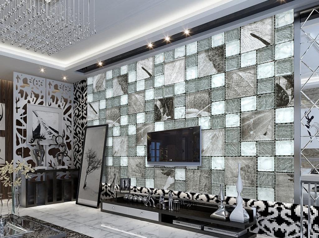 现代简约瓷砖马赛克电视背景墙