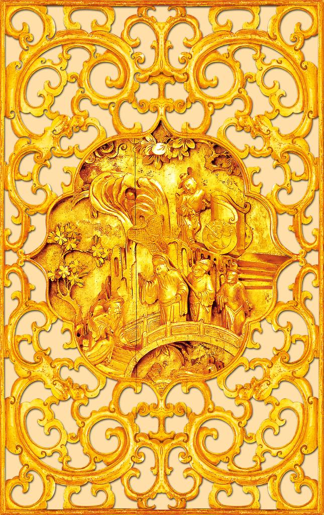 金色木雕玄关
