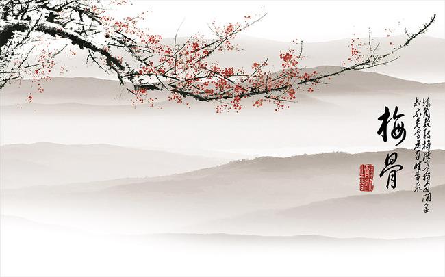 梅花中式电视背景墙装饰画