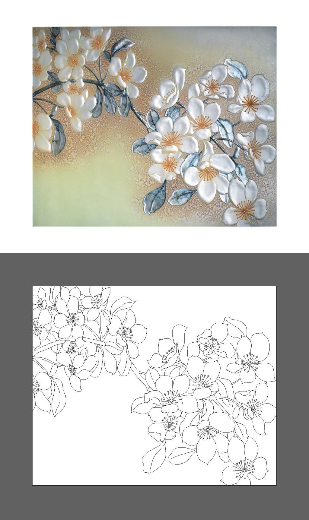 黑白手绘藤蔓花