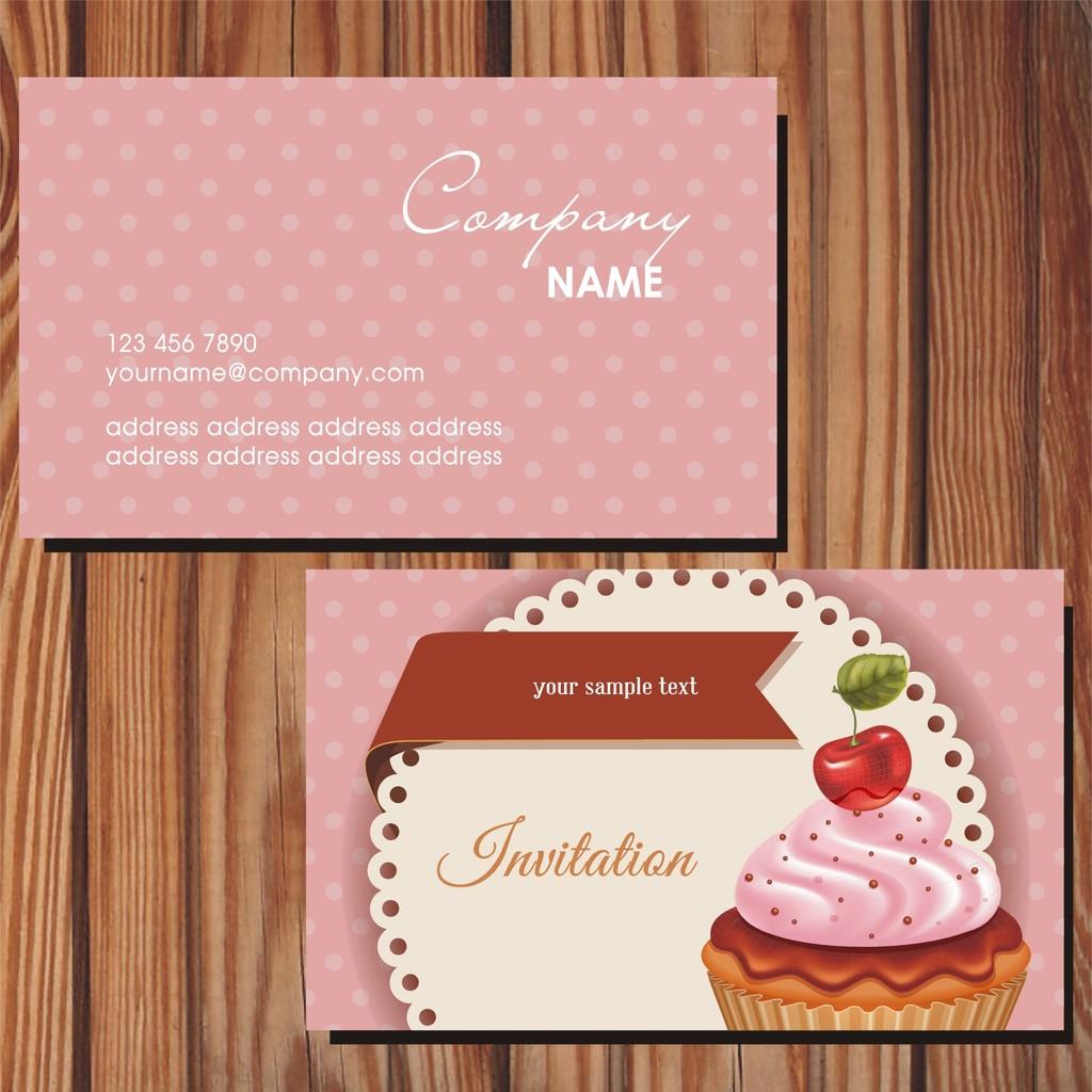 卡通甜品行业蛋糕商务名片模板