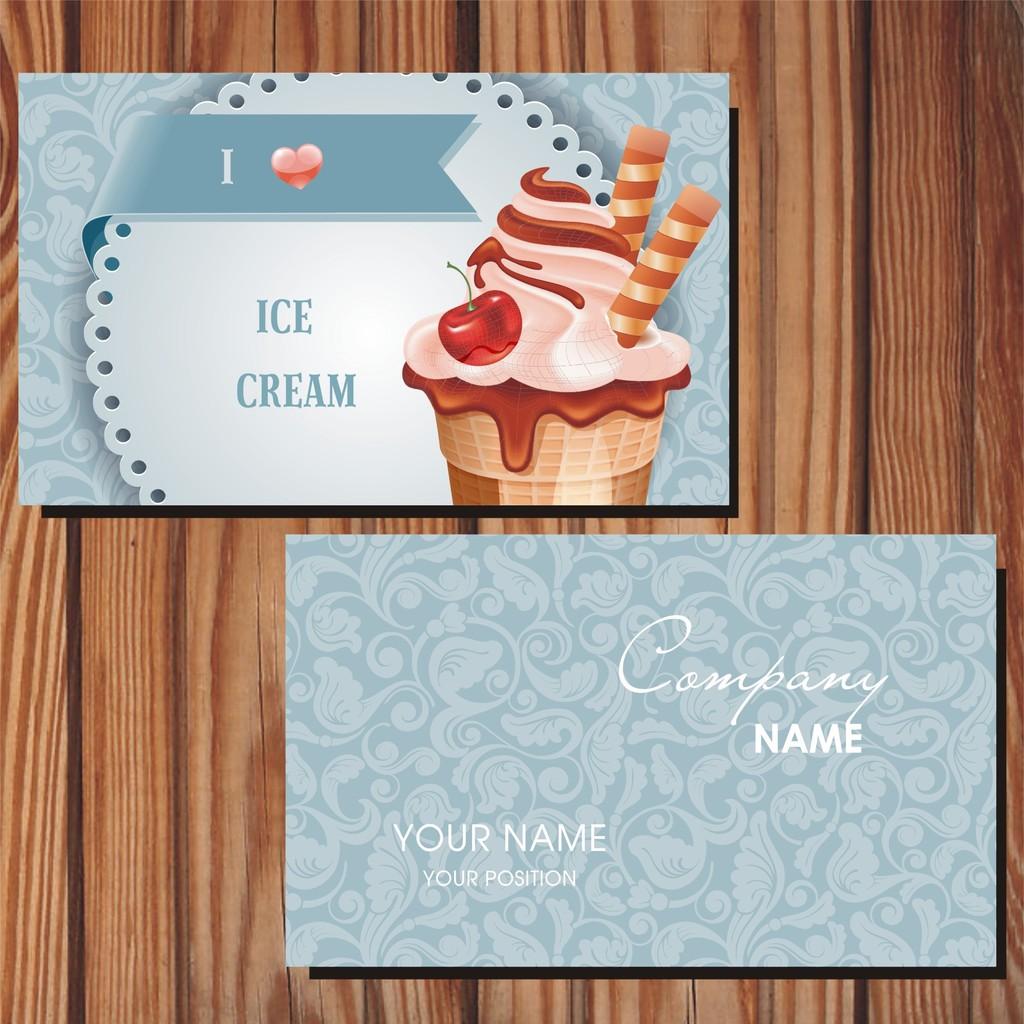 甜品行业卡通蛋糕商务名片模板