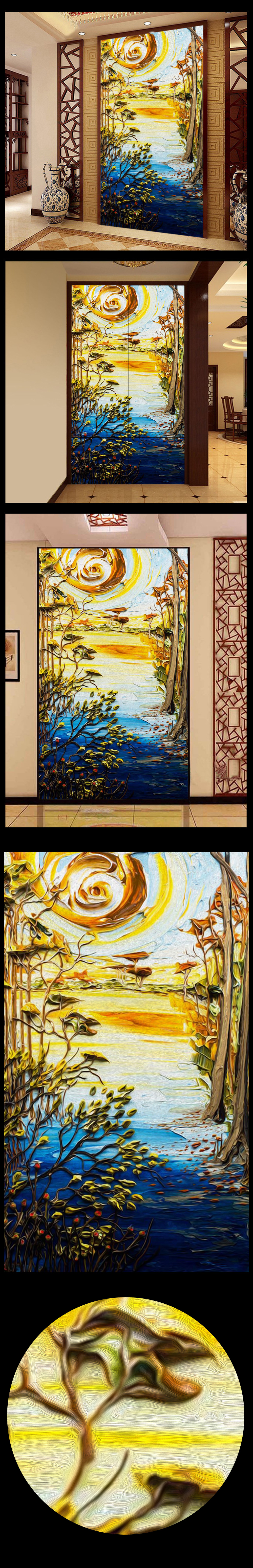 3d立体手绘油画风景墙画壁画玄关过道