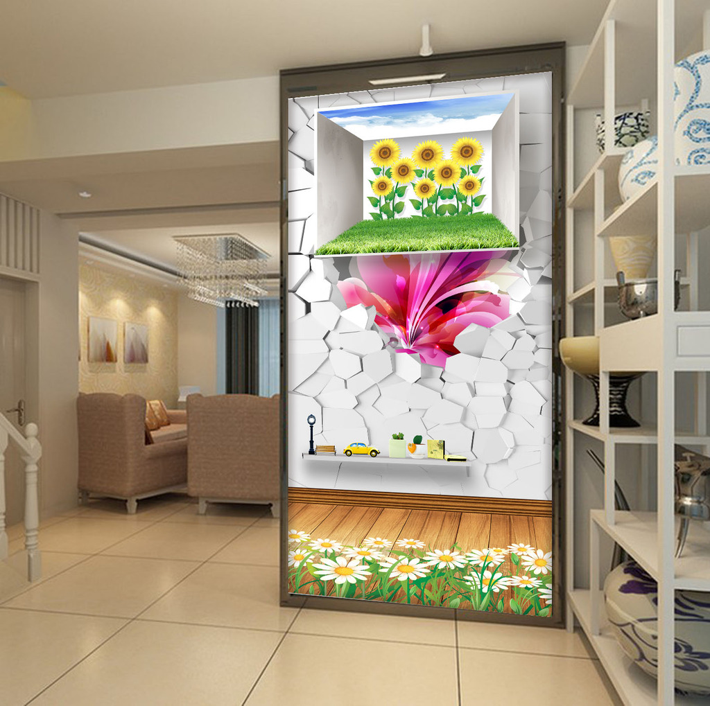 3d创意风景花卉玄关过道背景墙