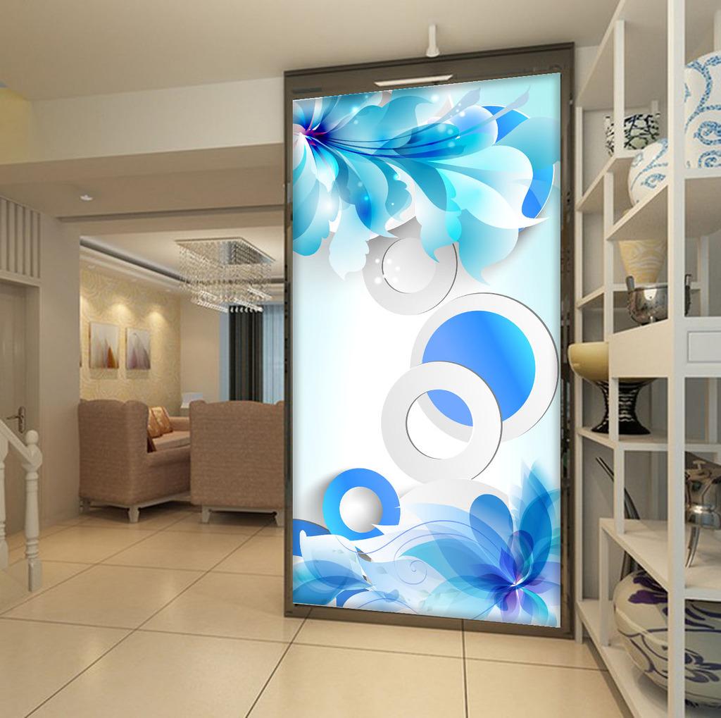 立体3d唯美手绘蓝色花卉玄关背景墙