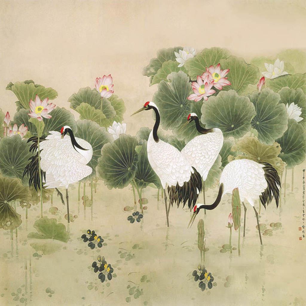 背景墙|装饰画 无框画 植物花卉无框画 > 荷叶仙鹤  下一张&gt