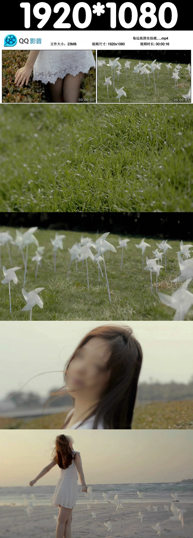 草地美女高清实拍视频素材模板下载图片编号: