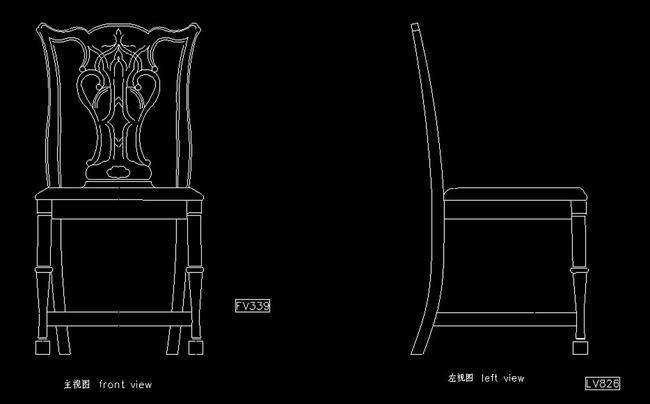 榫卯结构家具手绘三视图分解图