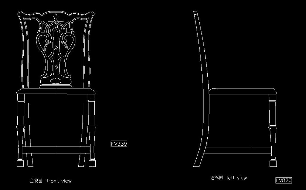 欧式红木家具椅子cad图纸全集带细节