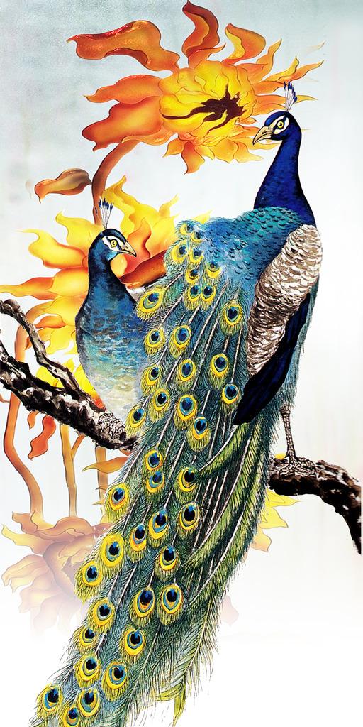 背景墙|装饰画 玄关 山水花鸟玄关图 > 油画工笔孔雀图彩雕花鸟画玄关