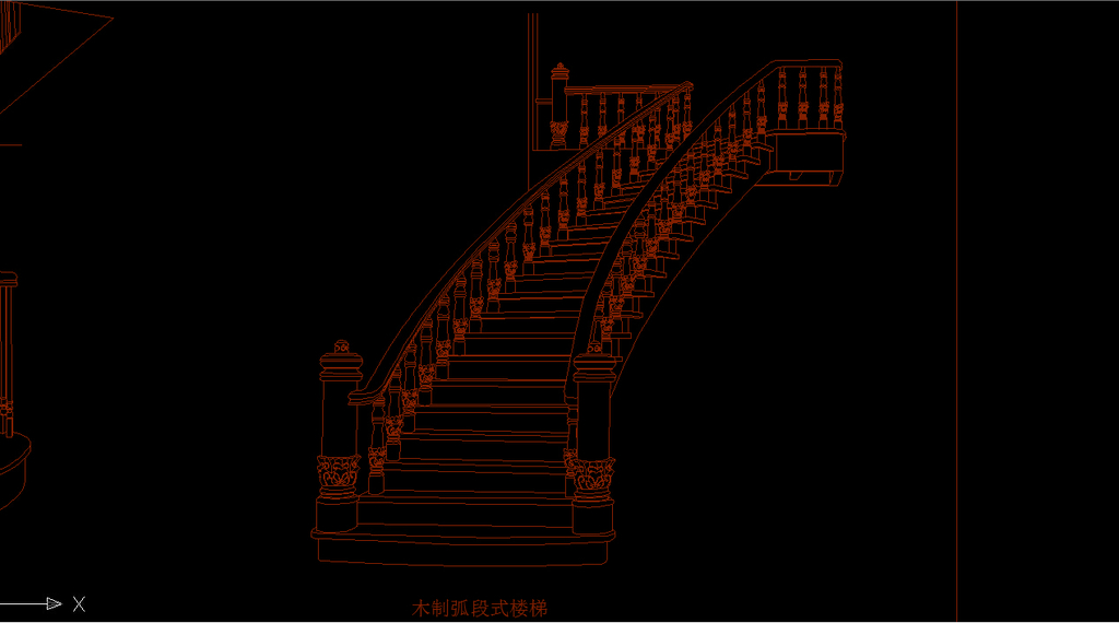 cad木质楼梯欧式旋转楼梯楼梯柱子模板下载图片