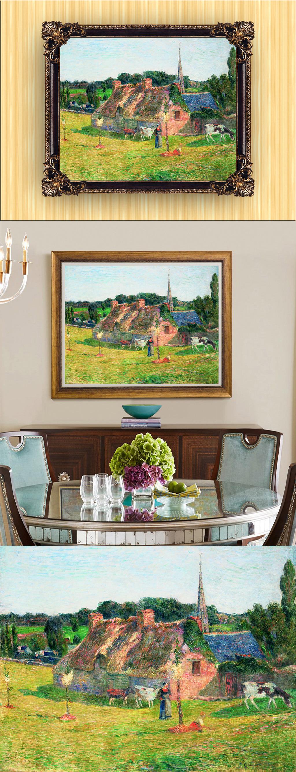 欧式古典风格手绘田园风景油画