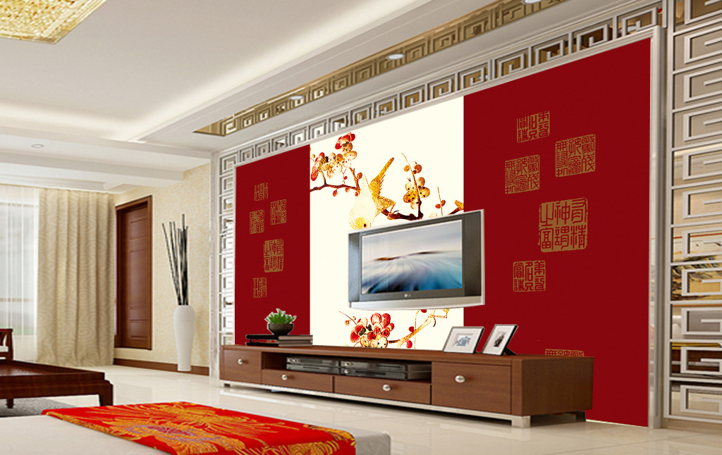 双鸟图中式电视背景墙模板下载