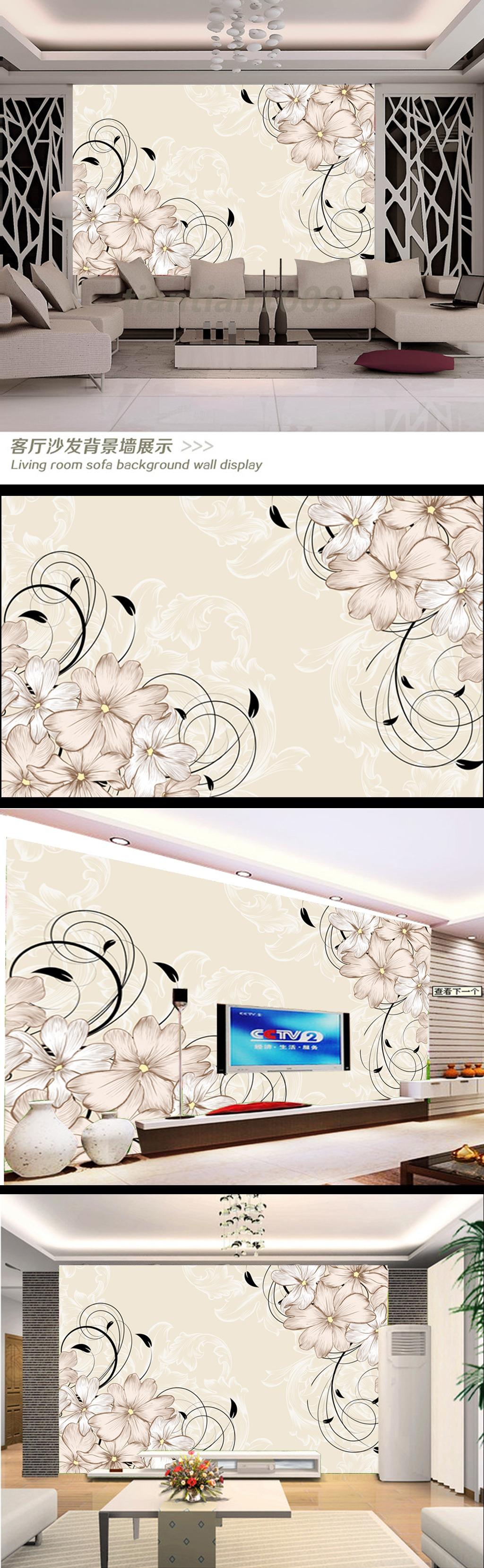 手绘花瓣电视机背景墙