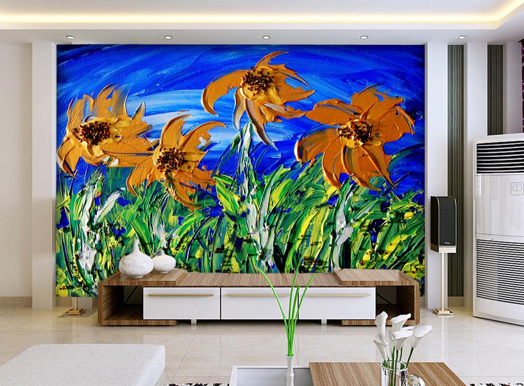 3d立体手绘油画花朵墙画壁画