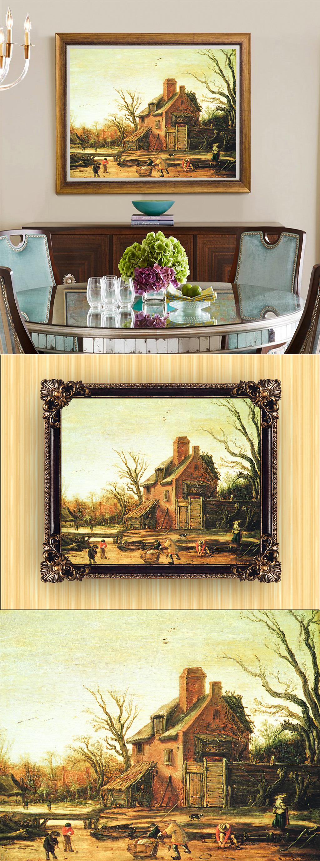 高清手绘欧式古典风格风景油画