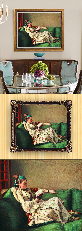 手绘欧式古典风格人物少女油画