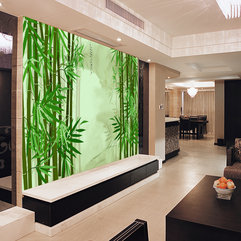 水墨竹林电视背景墙