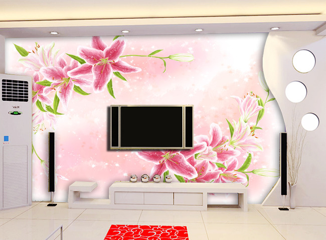 背景墙|装饰画 电视背景墙 电视背景墙 > 手绘百合电视背景墙