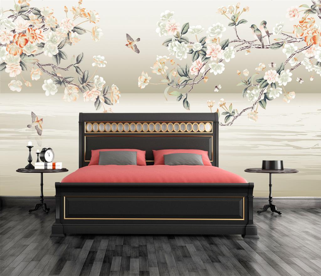 床头背景 手绘图