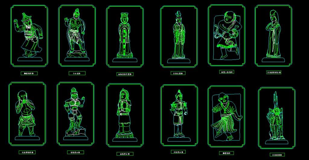 家装雕塑类门神类图块模块cad图库模板下载