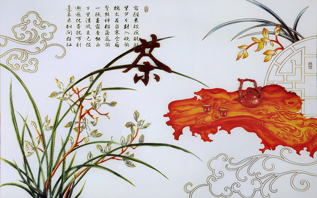 茶道中式电视背景墙图片