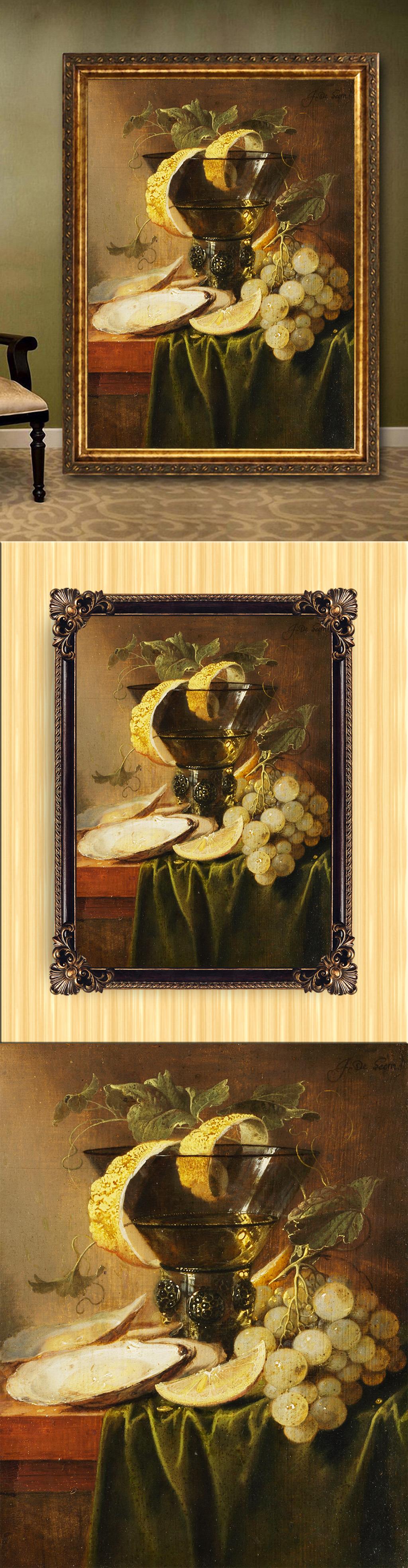 背景墙|装饰画 油画 静物油画 > 手绘古典风格静物水果花瓶油画  下一