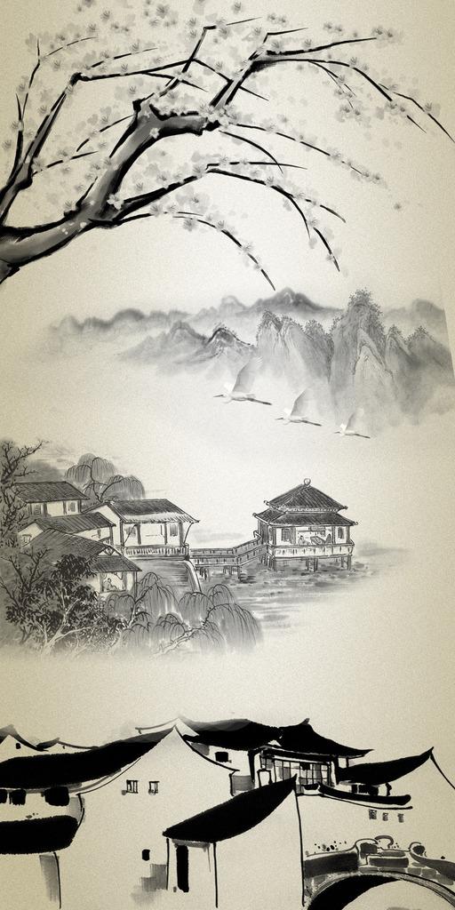 国画水墨画山水风景画玄关图片