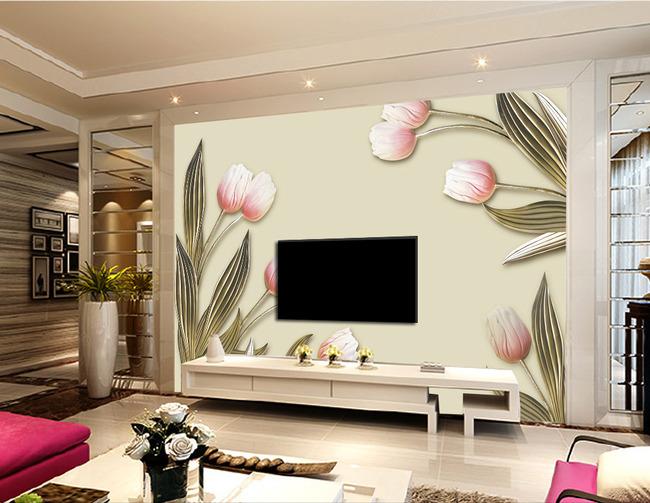 简约立体浮雕花卉壁画电视背景墙