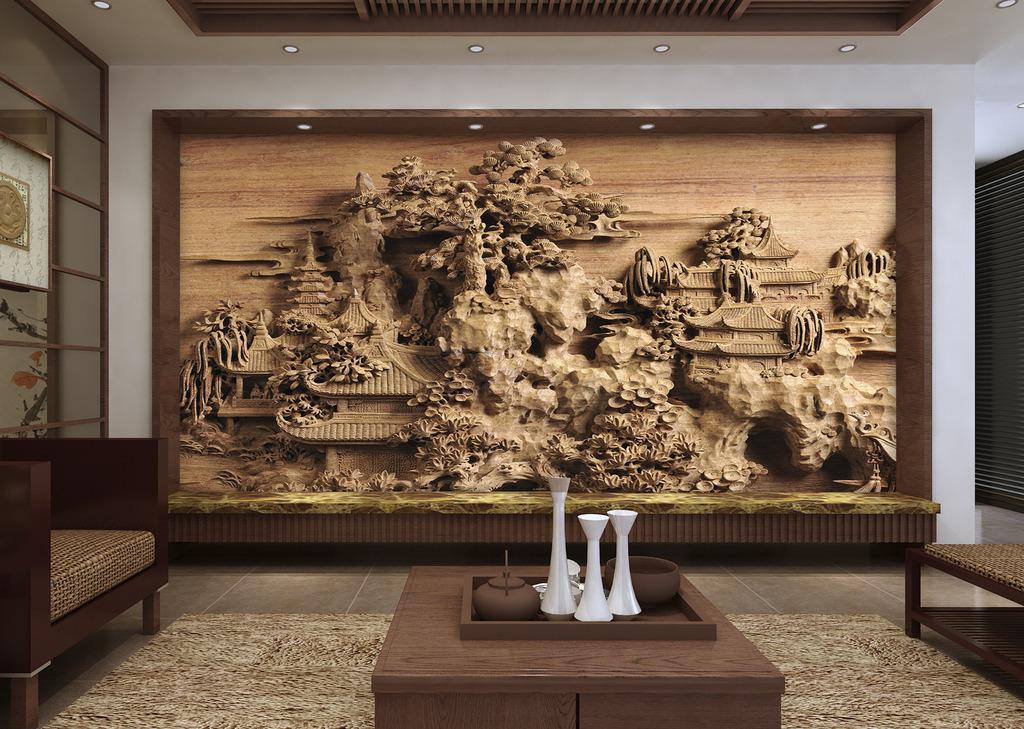 木雕壁画客厅电视背景墙