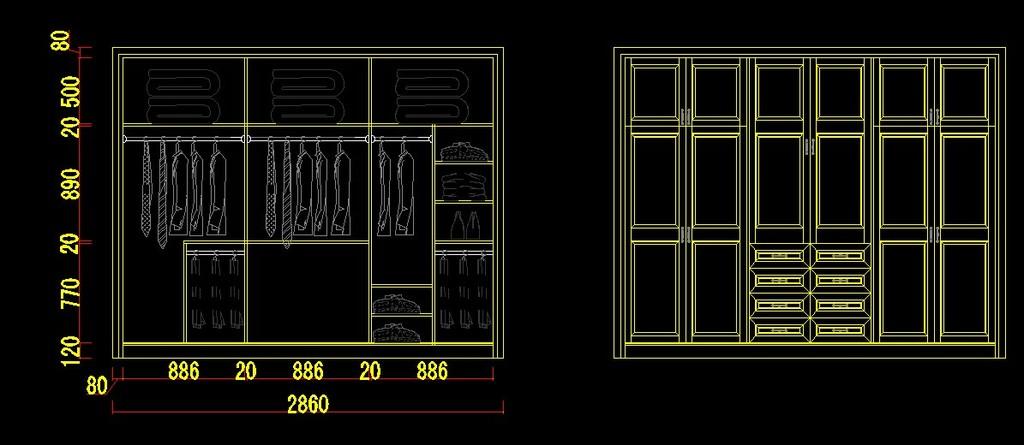 衣柜cad设计图图片