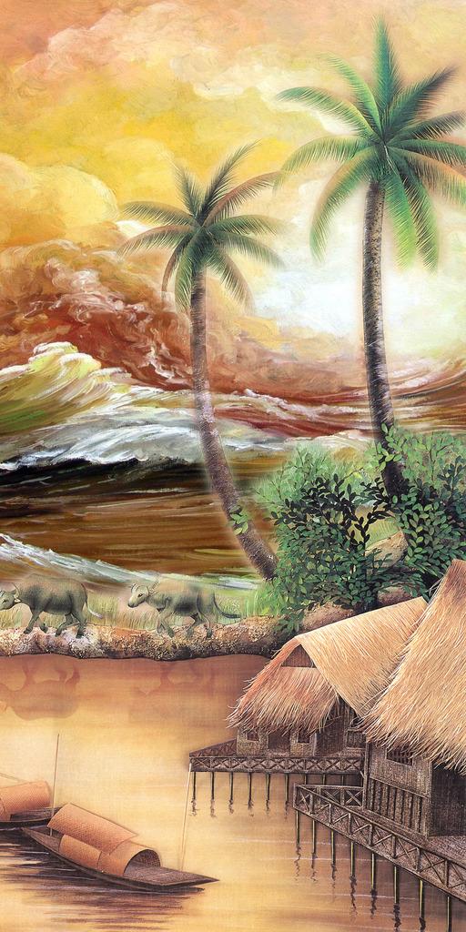 欧式油画欧洲山水风景画椰子树大海玄关
