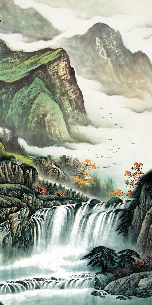 山水/国画山水水墨画山水风景画玄关高山流水模板下载