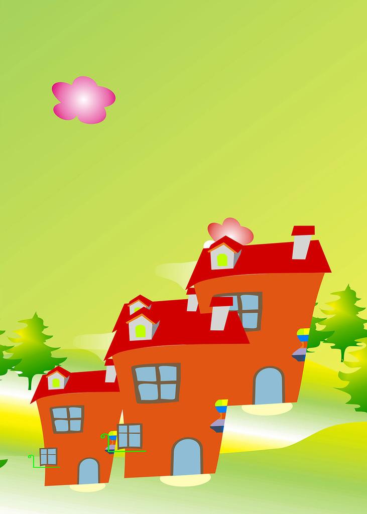 童话世界卡通人物房屋壁画装饰画中堂画背景
