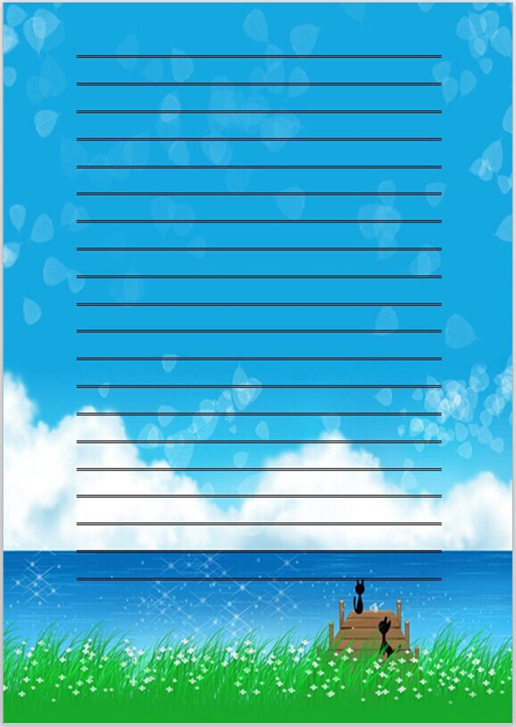 蓝色天空信纸背景