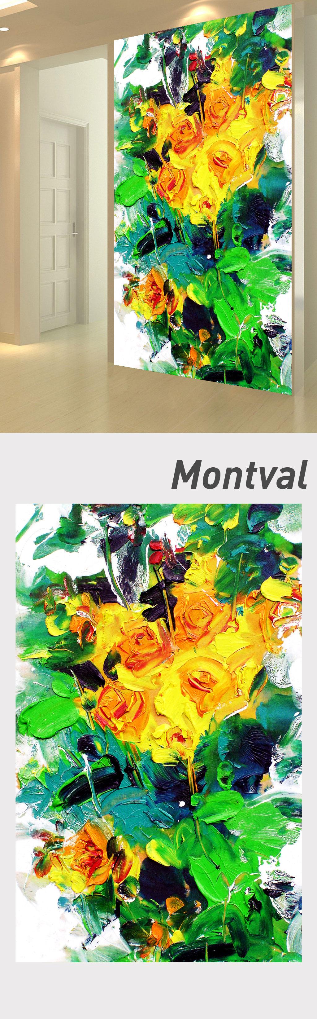 3d立体手绘油画花束玄关门厅背景墙设计