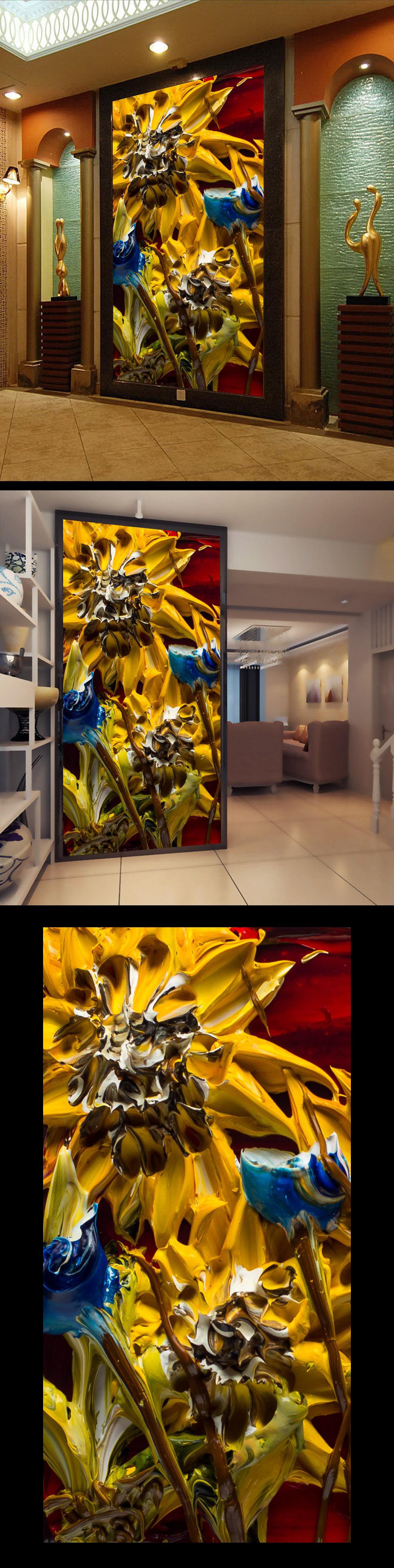 手绘高清立体月季花卉壁画门厅玄关装饰画