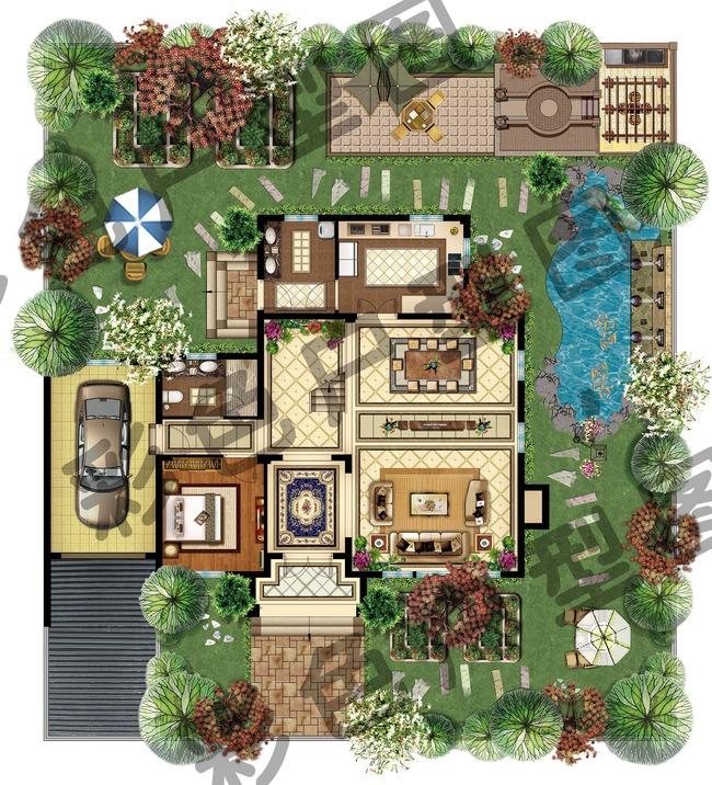 別墅彩色戶型平面圖psd分層圖片下載手繪高清分層